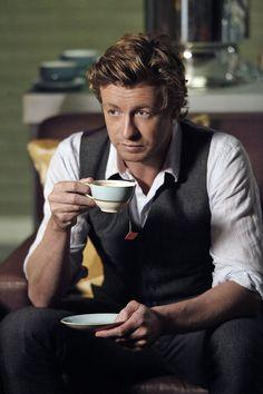Simon Baker in The Mentalist having tea...a big tea drinker.