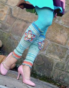 green FLOWER GIRL leg WARMERS with large flower up by GPyoga, $49.00