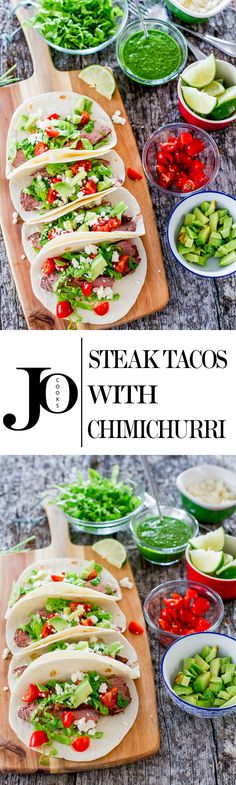 Steak Tacos with Chimichurri Sauce - Jo Cooks Steak Tacos with Chimichurri Sauce - the easiest and most delicious steak tacos with a super easy and fresh chimichurri sauce. So satisfying, and so fresh! Meat Recipes, Mexican Food Recipes, Dinner Recipes, Cooking Recipes, Healthy Recipes, Mexican Dishes, What's Cooking, Chimichurri, Steak Tacos