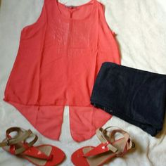 SALE☆Everyday Coral Top Cute Sleeveless High-Lo Summer Top Front Rhinestone accents  Triple Stylish back cuts Ultra Light perfect for Summer Yay! 100% Polyester Tops