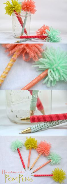 Handmade Gifts: Pom Pens | Hearts & Sharts #DIYGift