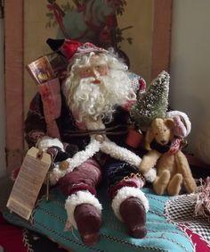 Handmade Santa Claus By Kim Sweet~Antique Crazy Quilt