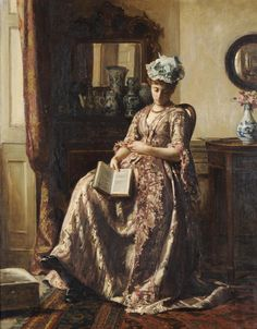 Asleep (exh.1876). Robert James Gordon (English, 1845-1932). Oil on canvas. The lady dozes off but the book she has been reading is still in hand. This painting was exhibited by the artist at the...