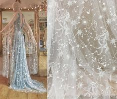Star celestial Embroidery Fabric, Soft Ivory White Tulle, Bridal Prom Evening Dress, Sequin Beaded lace, Fashion DIY Material by the Yard Starry Night Wedding, Moon Wedding, Celestial Wedding, Star Wedding, Dream Wedding, Wedding Vows, Wedding Things, Wedding Stuff, Wedding Cakes