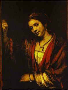 Hendrickje at an Open Doo - Rembrandt