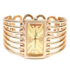 Charming Women's Golden Bangle Bracelet Quartz Wristwatch Hollow Band Watch