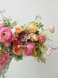 Spring wedding bouquet in pink, yellow and orange with ranunculus, hellebore and jasmine vine by Foraged Floral in Portland, Oregon Happy Wedding Day, Spring Wedding, Wedding Bouquets, Wedding Flowers, Jasmine Vine, Hello July, Ranunculus, Potpourri, Vines