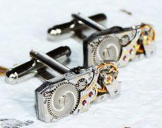 LONGINES Steampunk Cufflinks  Swiss Luxury Silver Vintage Watch Movement  MATCHING Men Steampunk Cufflinks Cuff Links Wedding Gift by TimeInFantasy