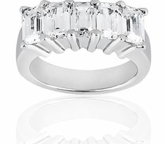 Five Stone Emerald Cut Diamond Anniversary Ring