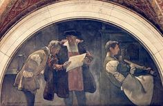 Evolution of the book, 1896 One of the murals in the Library of Congress, Washington