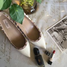 Valentino white rockstud wedge shoes, dior lipstick and armani si perfumes