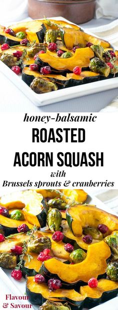 Honey balsamic roasted acorn squash with Brussels sprouts and fresh cranberries makes a tasty, colourful paleo side dish for any fall or winter dinner. Takes less than 30 min. Great for holiday meals! #paleo