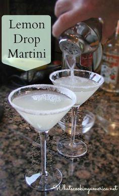 Lemon Drop Martini Recipe: 1 ounces vodka (lemon - grey goose or other good quality) ounce orange liqueur (Triple Sec, Grand Marnier, Cointreau, etc.) teaspoon sugar ounce freshly-squeezed lemon juice Ice cubes Twisted peel of lemon or le Lemon Drop Martini, Lemon Drop Shots, Lemon Drop Cocktail, Grand Marnier, Refreshing Drinks, Yummy Drinks, Martini Cocktail, Martinis, Simple Vodka Cocktails