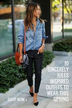 Looking for some serious style inspiration? Souther california blogger, Sincerely Jules always bring endless outfit ideas! We love this simple and chic denim on denim outfit! Click for more outfit inspiration and to recreate her looks!
