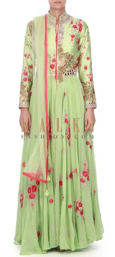 Buy this Pista green anarkali suit embellished in resham and mirror only on Kalki