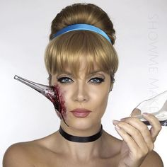 """Pin for Later: Disney Princesses Reimagined For Halloween Will Give You Nightmares Cinderella """"While escaping the Prince, Cinders tripped down the stairs, face planted her shoe & impaled her face."""""""