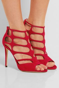Jimmy Choo - Ren Cutout Suede Sandals - Red