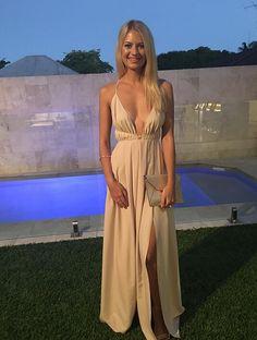 nude prom dress,deep v neck prom dress,backless prom dress