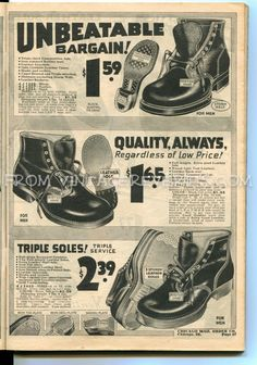 #1930s #workboots for men - #Depression-era #shoe #fashions from 1935