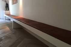 Leer kisses op maat  Leather seat cushion custom for dining bench