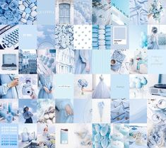 Photo Wall Collage Kit   Baby Light Blue Aesthetic (Set of 60 photos) INSTANT Download   DIGITAL printable collage kit