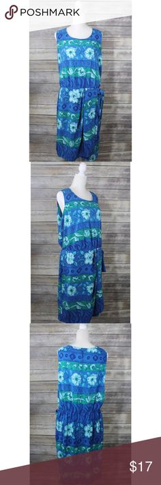 """Sag Harbor Blue Green Floral Sleeveless Dress Pre-Owned Sag Harbor Womens Blue Green Dress Spring Floral Sleeveless Empire Waist  Size: 18W 100% Polyester Please see photos for details.   Measurements: Armpit to armpit: 22"""" Length: 42"""" Sag Harbor Dresses"""