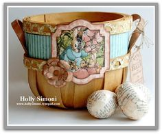 Vintage wooden Easter Basket