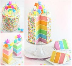 Image result for unicorn and rainbow cakes