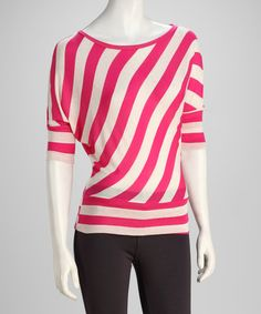 Take a look at this Pink Stripe Dolman Top by Show Your Stripes: Womens Apparel on @zulily today!