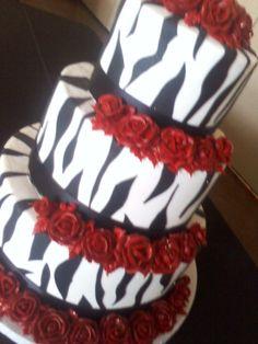 red and zebra wedding | Zebra wedding cake with red buttercream roses allthingscakeshop.com ...