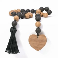 Tiered Tray Decor Coffee Table Decor Wooden Heart Tag Rustic Shelf Decor Home Gifts Natural Farmhouse Wooden Bead Garland With Tassels
