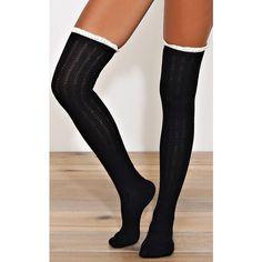 Lace Trim Over The Knee Socks (495 RUB) ❤ liked on Polyvore featuring intimates, hosiery, socks, black, over knee socks, over-the-knee socks, chunky knit socks, patterned socks and print socks