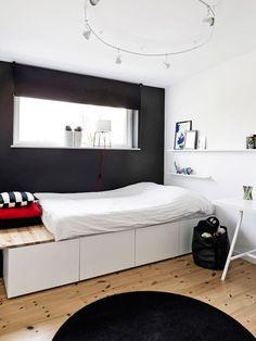 Säng byggd av fläktskåp