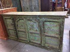Antique Carved Huge Vanity Chest Old Door Sideboards Rustic Green Buffet Storage #ArtDeco #Wood