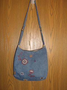 Repurposed Embroidered Denim Bag