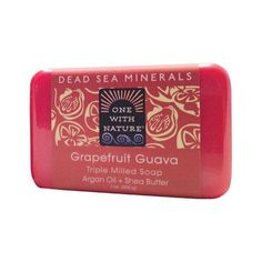 One With Nature Triple Milled Soap Bar - Grapefruit Guava - 7 oz - Dead Sea Minerals Argan Oil + Shea Butter Experience the Dead Sea Difference. Unique combinations of salts + 21 minerals Moisturizing shea butter More than 1300 feet below sea level, the shores of the Dead Sea mark the worlds lowest elevation and the sight of one of natures greatest wonders. Fed by the River Jordan, the Dead Seas mineral rich salts and muds-, have unique therapeutic value, acting to deeply cleanse and tone…