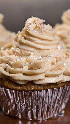 """Velvet Elvis"" Peanut Butter and Banana Cupcakes ~ ""Velvet Elvis"" Cupcakes with Moist Banana Cake and Rich, Peanut Butter-Cream Cheese Frosting, sprinkled with Sweet Buttered-Toffee Peanuts"