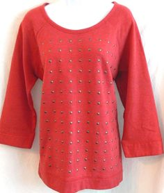 Womens Sweater Express Studded Front Cotton Coral Sweatshirt Size XL 3/4 Sleeves #Expressions #SweatshirtCrew