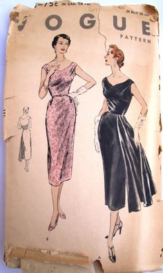1950S Women evening dress | Vogue 8184 Womens Evening Dress Sewing Pattern by Denisecraft