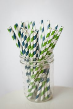 30 Paper StrawsNavy Blue and Kelly Green Set   with by shoppe3130, $4.75