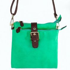 """Click here and get it at Amazon.com $28.99 Amazon.com: New Arrival """"Designer Inspired"""" Unique Buckle Embellishment Bifold Style Solid Messanger Bag / Crossbody Bag in Mint Green: Clothing"""
