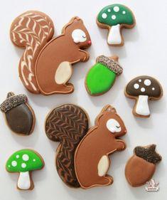 Woodland Decorated Cookies Squirrels Acorns and Mushrooms | Sweetopia