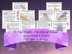 Animal Omens & Dreams Printable Pack of 10 Pages Book of Shadows Grimoire Baby Witch Beginner Witch Digital Printable Metaphysical Occult