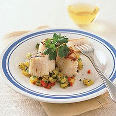 Grilled Scallops with Pineapple Salsa -- The salsa is mildly spicy and only enhances the flavor of grilled fish