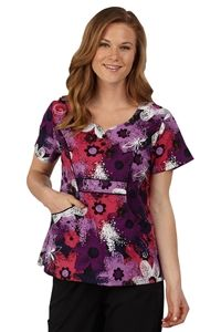 "Peaches Uniforms Emily Top in ""Floral Strokes"" 4632-FLSK 	  Emily Print Top #4632  100% Cotton  Sweetheart neckline, flower buttons  Seaming detail  Roomy J pockets  Length 26""  XS-3X $22.50 #scrubs #scrubcouture #nurses"