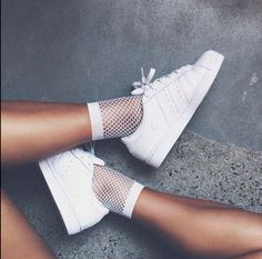 Wear For Love Inspired FISHNET TREND; Streetstyle, White Fishnet, White Adidas Sneaker Shoes, Brown Skin