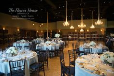 Winery wedding + The Palm Event Center + Chandeliers + Flowers