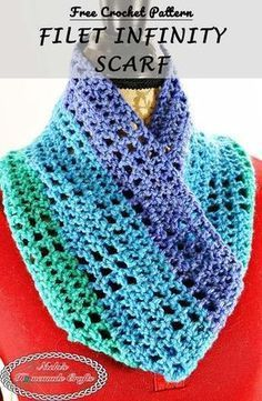 Filet Infinity Scarf - Free Crochet Pattern - Nicki's Homemade Crafts