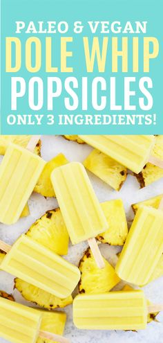 Dole Whip Popsicles (Paleo & Vegan) - So good! Homemade Dole Whip Popsicles - Your favorite Disneyland Dole Whip turned into a healthy homemade popsicle! This one is naturally sweetened, has 3 ingredients, and is paleo & vegan approved! Home Made Popsicles Healthy, Healthy Popsicle Recipes, Homemade Popsicles, Healthy Dessert Recipes, Paleo Recipes, Healthy Snacks, Cooking Recipes, Vegan Desserts, Sugar Free Popsicles