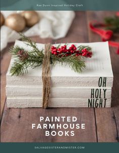 Decorative Painted Farmhouse Christmas Books - Salvage Sister and Mister Turning thrift store books into beautiful holiday decor items. Make these Rae Dunn Inspired painted farmhouse Christmas books for budget-friendly decor Christmas Books, Christmas Projects, Christmas Home, Simple Christmas, Holiday Crafts, Outdoor Christmas, Christmas Swags, Christmas Bedroom, Party Crafts